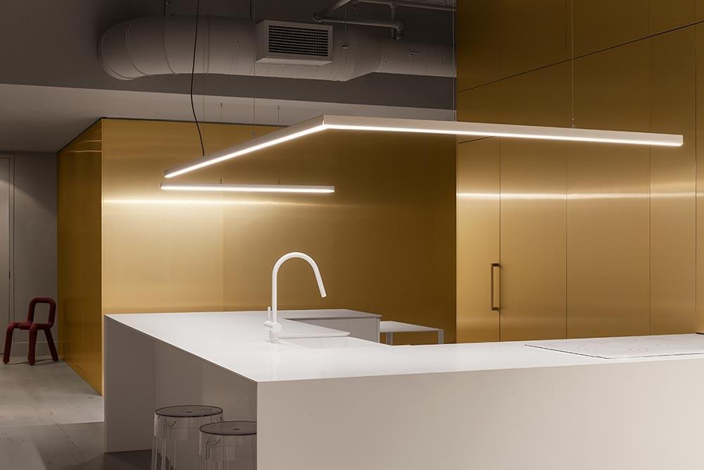 Kitchen linear LED lighting suspended